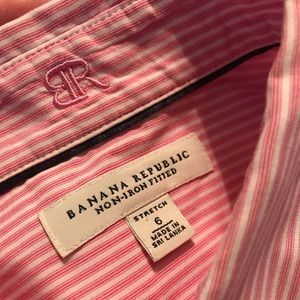 Banana Republic Iron-Free striped collard shirt